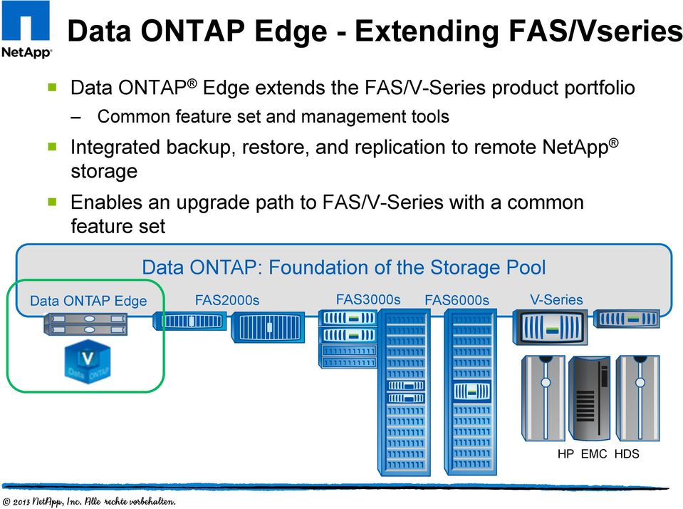 to remote NetApp storage Enables an upgrade path to FAS/V-Series with a common feature set