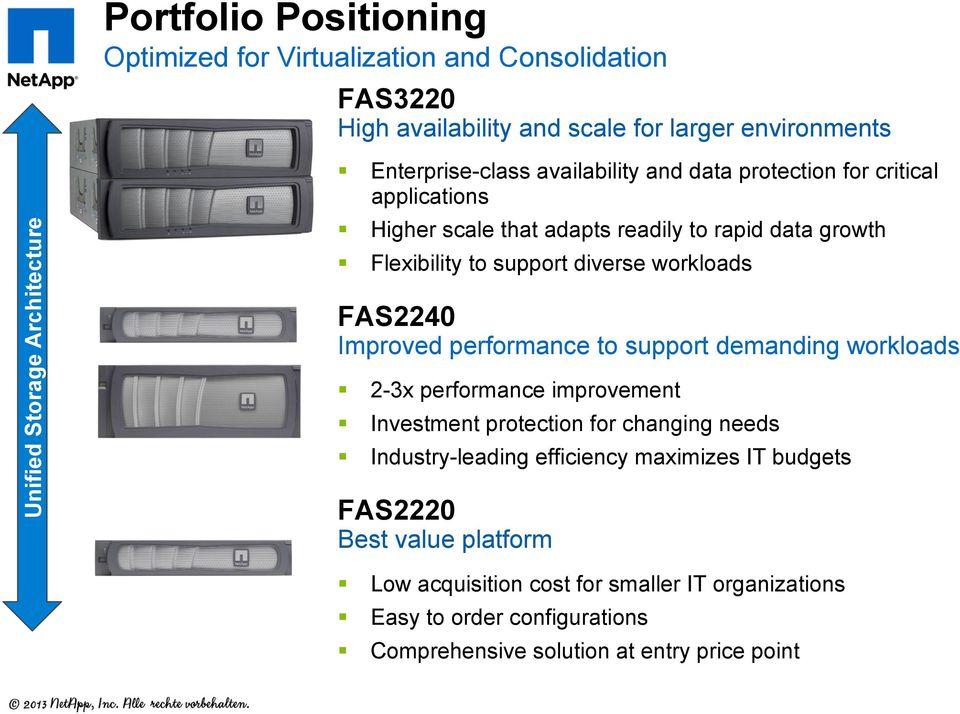 workloads FAS2240 Improved performance to support demanding workloads 2-3x performance improvement Investment protection for changing needs Industry-leading