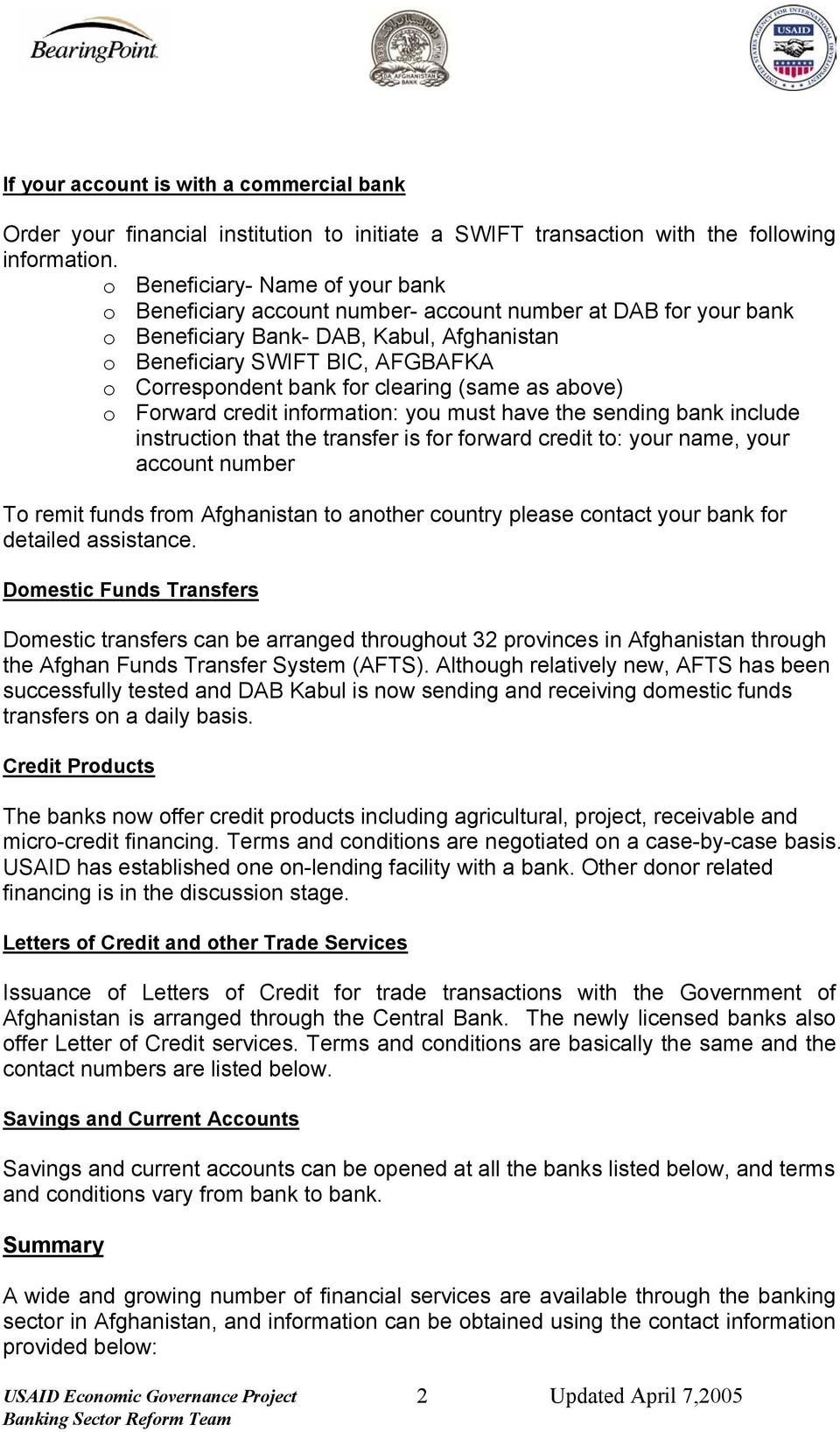 Banking System Services. Banking Services: - PDF