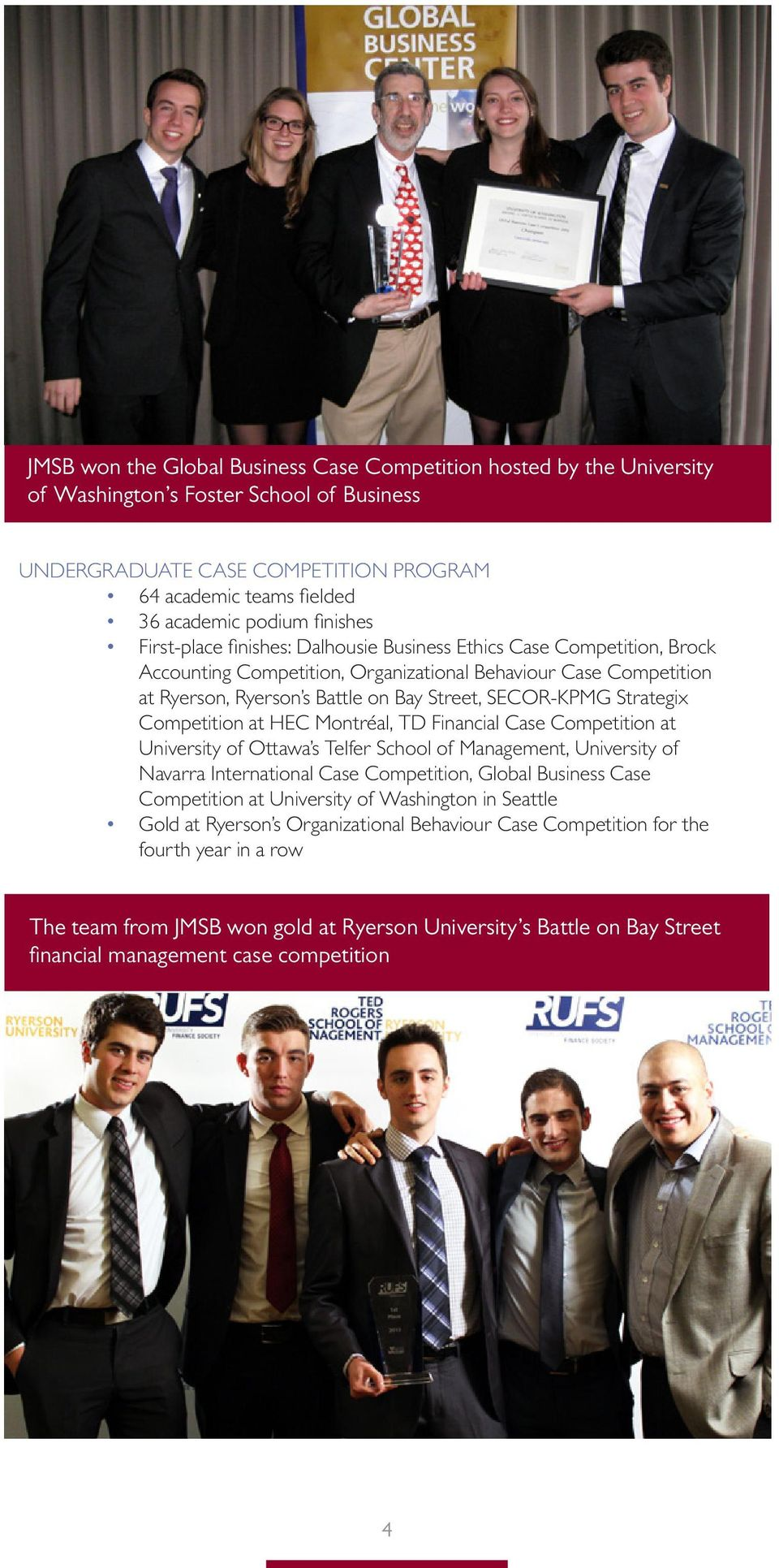 SECOR-KPMG Strategix Competition at HEC Montréal, TD Financial Case Competition at University of Ottawa s Telfer School of Management, University of Navarra International Case Competition, Global