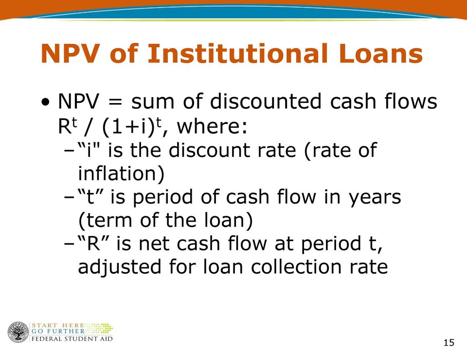 inflation) t is period of cash flow in years (term of the