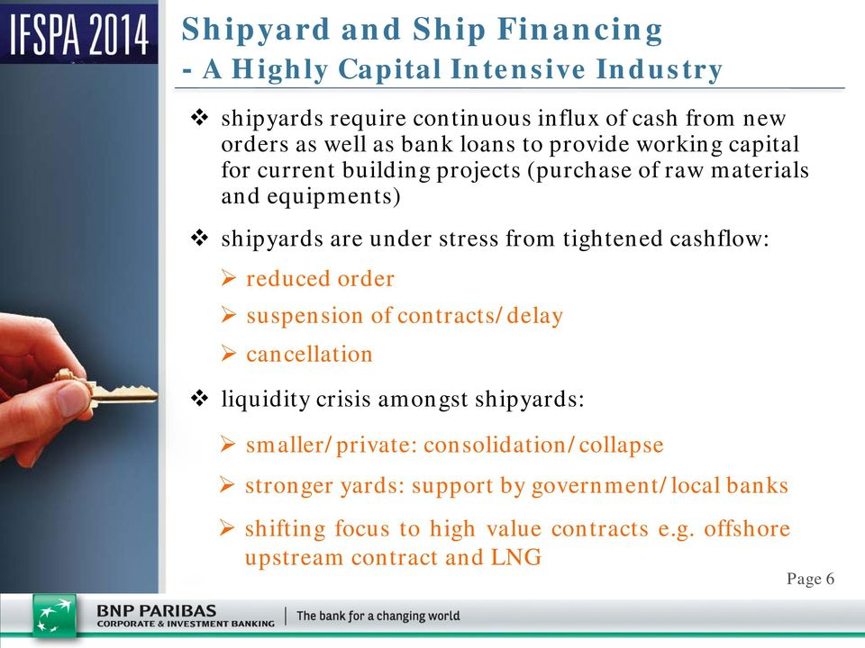 tightened cashflow: reduced order suspension of contracts/delay cancellation liquidity crisis amongst shipyards: smaller/private: