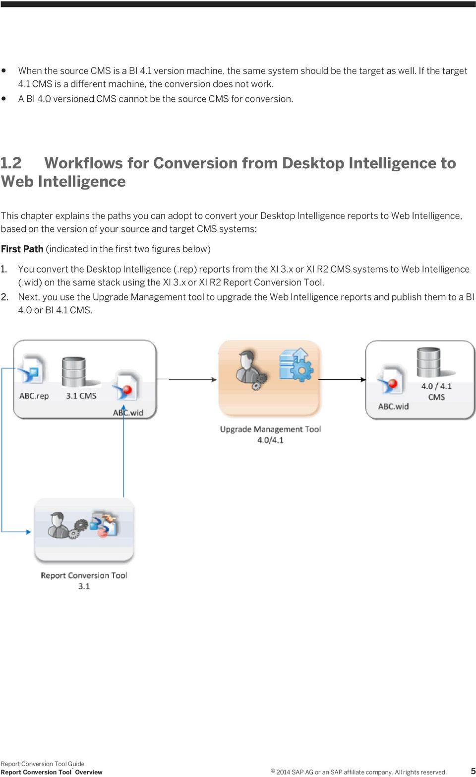 2 Workflows for Conversion from Desktop Intelligence to Web Intelligence This chapter explains the paths you can adopt to convert your Desktop Intelligence reports to Web Intelligence, based on the