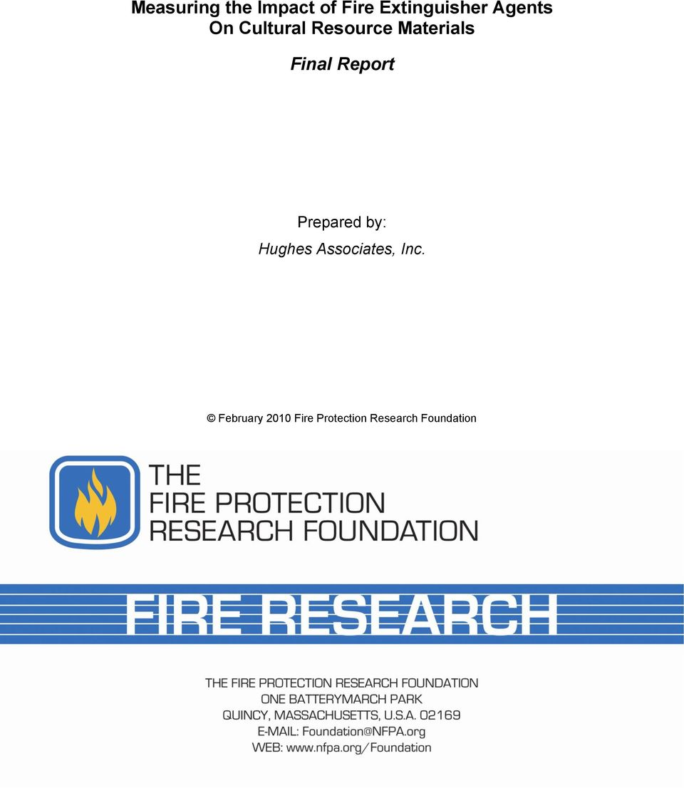 Report Prepared by: Hughes Associates, Inc.