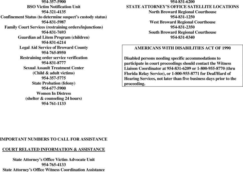 victims) 954-357-5775 State Probation (felony) 954-677-5900 Women In Distress (shelter & counseling 24 hours) 954-761-1133 954-831-6200 STATE ATTORNEY S OFFICE SATELLITE LOCATIONS North Broward