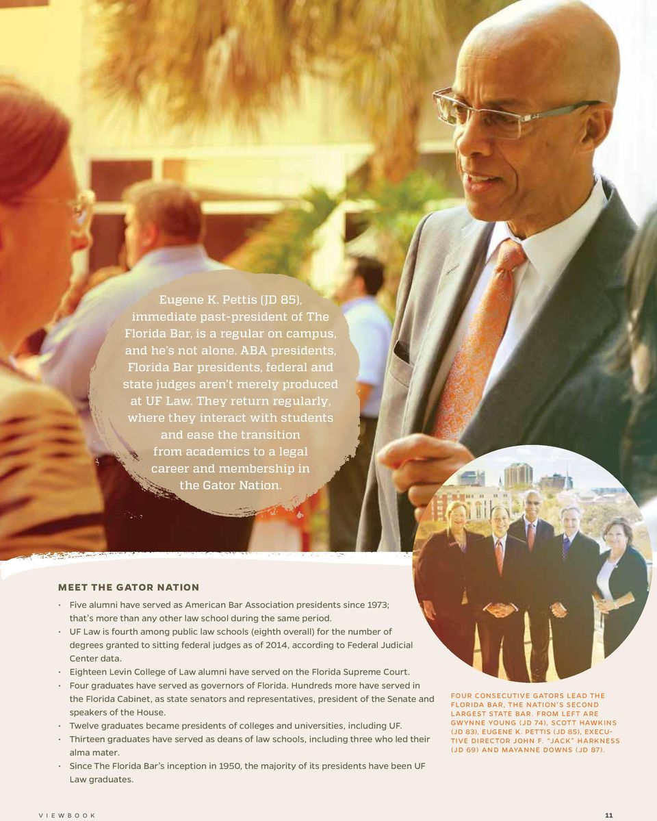 They return regularly, where they interact with students and ease the transition from academics to a legal career and membership in the Gator Nation.