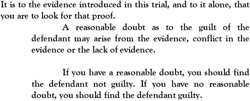 A reasonable doubt as to the guilt of the defendant may arise from the evidence, conflict in