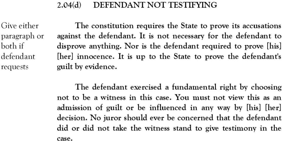 It is up to the State to prove the defendant's guilt by evidence. The defendant exercised a fundamental right by choosing not to be a witness in this case.