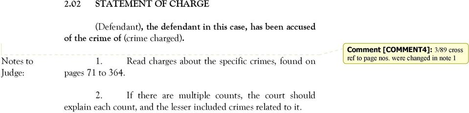 (crime charged). 1. Read charges about the specific crimes, found on pages 71 to 364. 2.