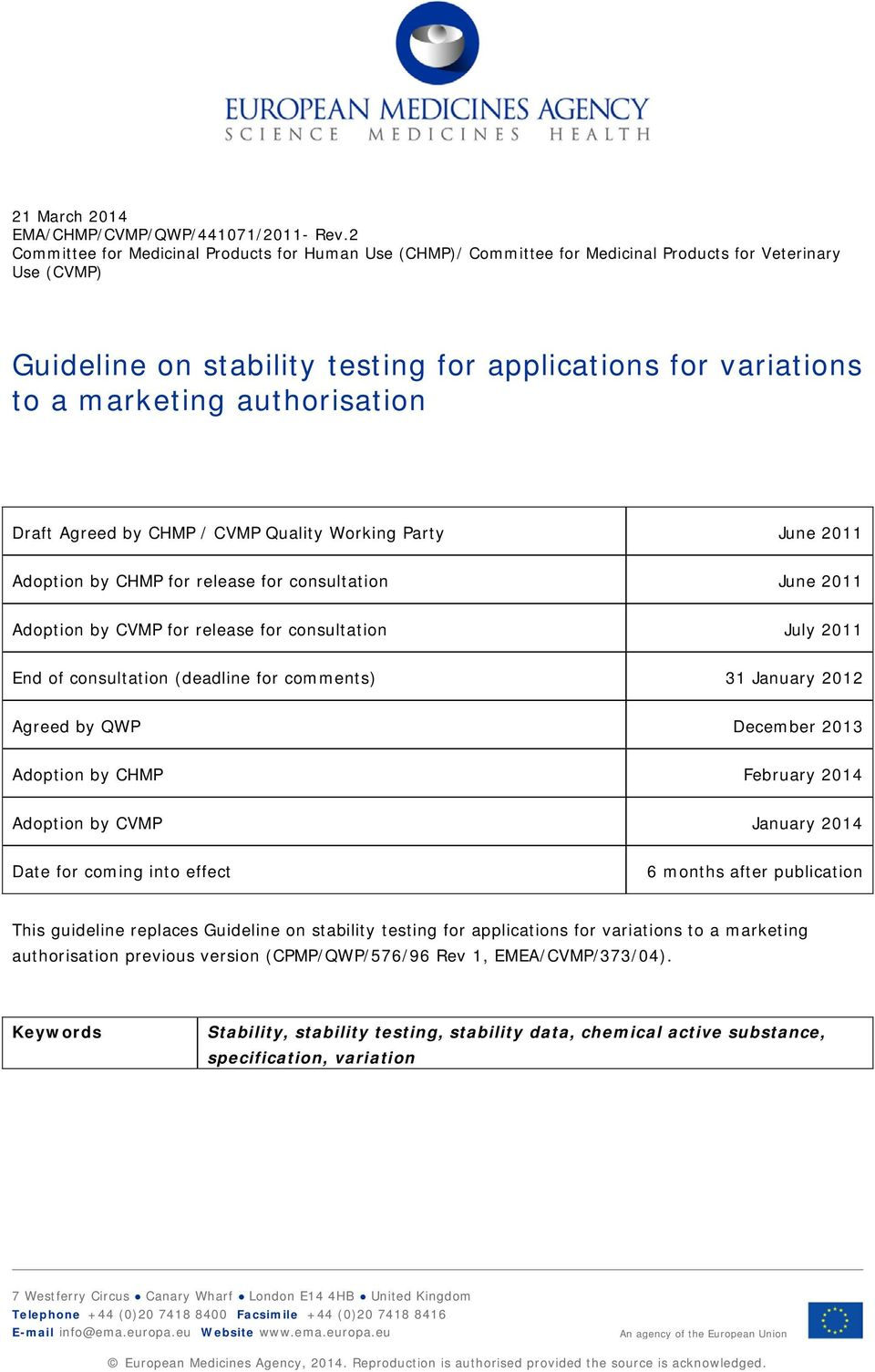 authorisation Draft Agreed by CHMP / CVMP Quality Working Party June 2011 Adoption by CHMP for release for consultation June 2011 Adoption by CVMP for release for consultation July 2011 End of