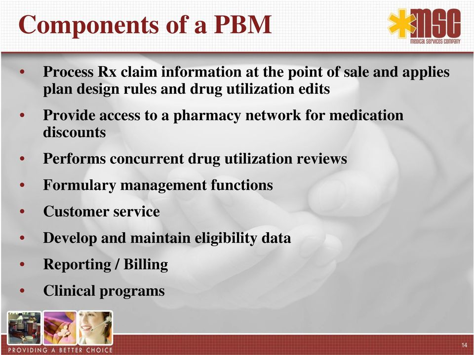 medication discounts Performs concurrent drug utilization reviews Formulary management