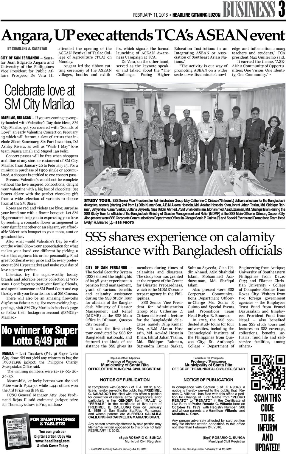 College of Agriculture (TCA) on Monday. Angara led the ribbon cutting ceremony of the ASEAN villages, booths and exhib- its, which signals the formal launching of ASEAN Awareness Campaign at TCA.