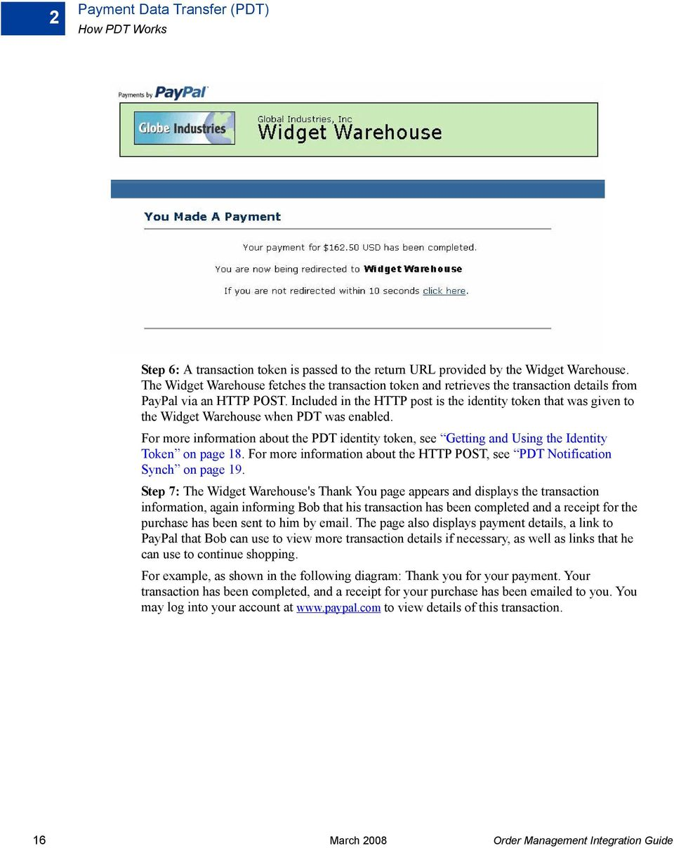 Included in the HTTP post is the identity token that was given to the Widget Warehouse when PDT was enabled.