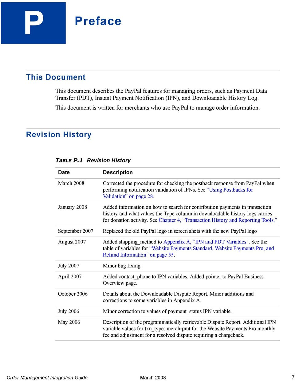 1 Revision History Date March 2008 January 2008 September 2007 August 2007 July 2007 April 2007 October 2006 July 2006 May 2006 Description Corrected the procedure for checking the postback response
