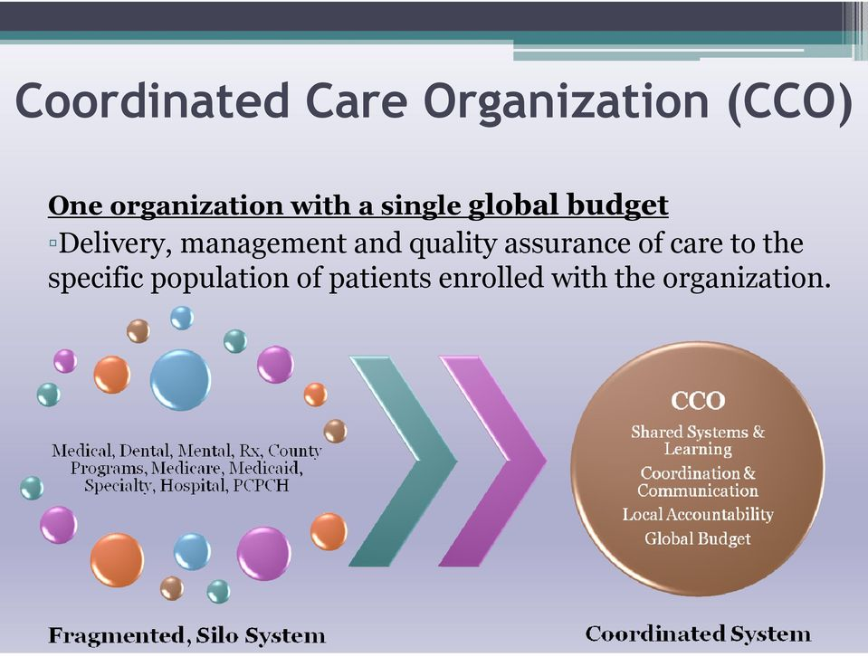 management and quality assurance of care to the