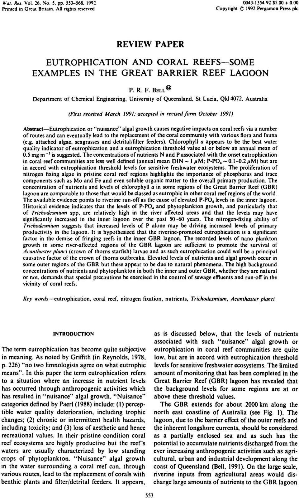BELL (~ Department of Chemical Engineering, University of Queensland, St Lucia, Qld 4072, Australia (First receired March 1991; accepted in ret, ised form October 1991) Abstract--Eutrophication or