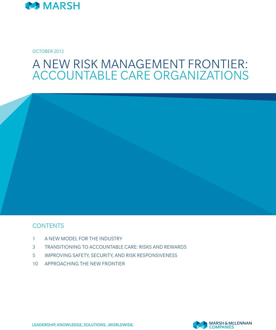 TRANSITIONING TO ACCOUNTABLE CARE: RISKS AND REWARDS 5