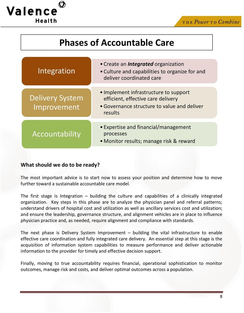 should we do to be ready? The most important advice is to start now to assess your position and determine how to move further toward a sustainable accountable care model.