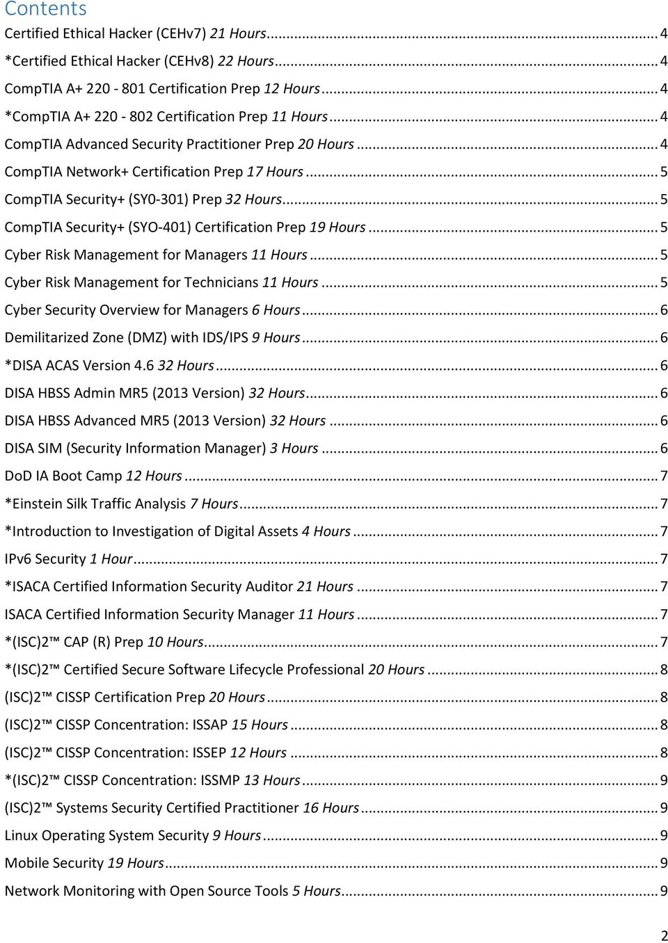 .. 5 CompTIA Security+ (SY0 301) Prep 32 Hours... 5 CompTIA Security+ (SYO-401) Certification Prep 19 Hours... 5 Cyber Risk Management for Managers 11 Hours.