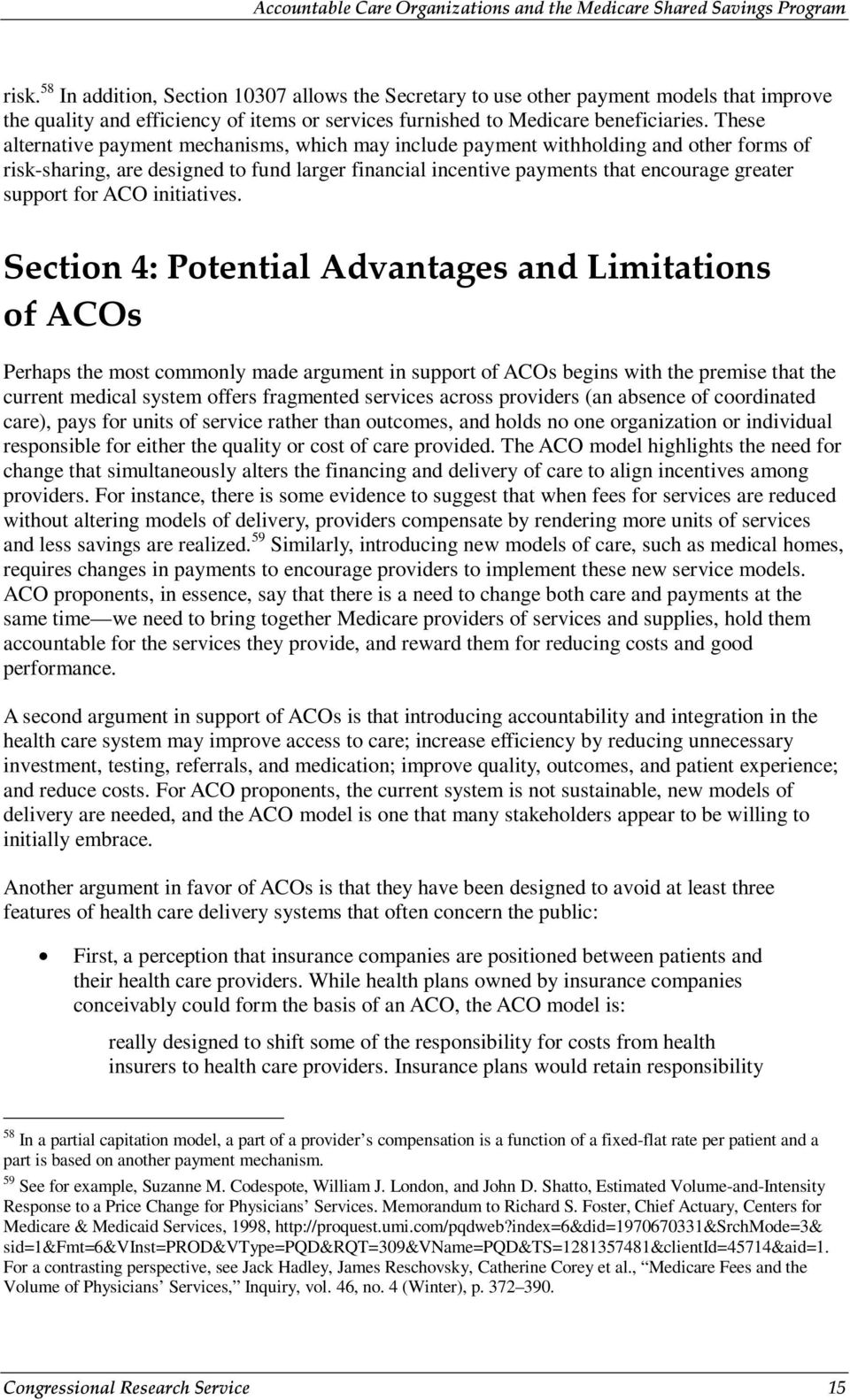 for ACO initiatives.
