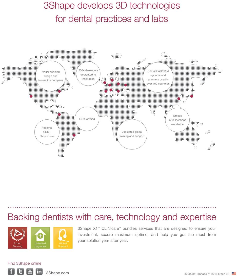 Backing dentists with care, technology and expertise 3Shape X1 CLINIcare bundles services that are designed to ensure your investment, secure maximum uptime, and