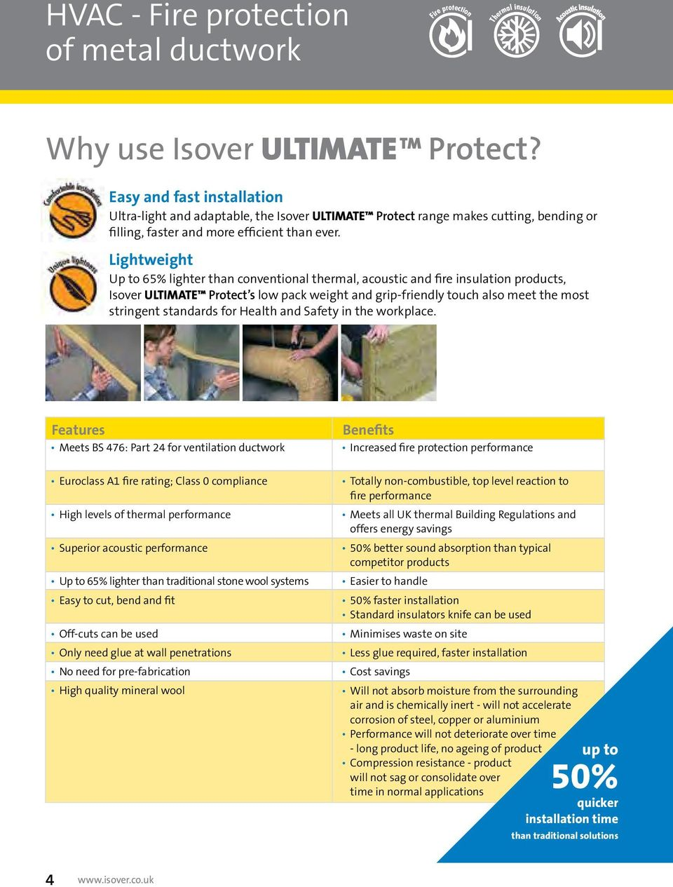Lightweight Up to 65% lighter than conventional thermal, acoustic and fire insulation products, Isover Ultimate Protect s low pack weight and grip-friendly touch also meet the most stringent