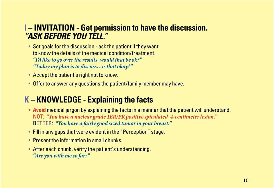 K KNOWLEDGE - Explaining the facts Avoid medical jargon by explaining the facts in a manner that the patient will understand.