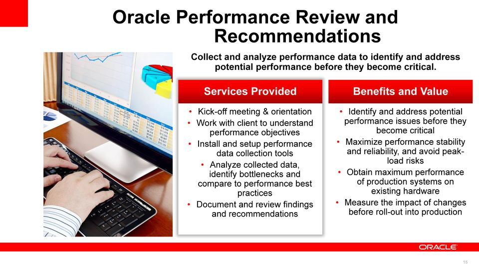collected data, identify bottlenecks and compare to performance best practices Document and review findings and recommendations Identify and address potential performance issues before