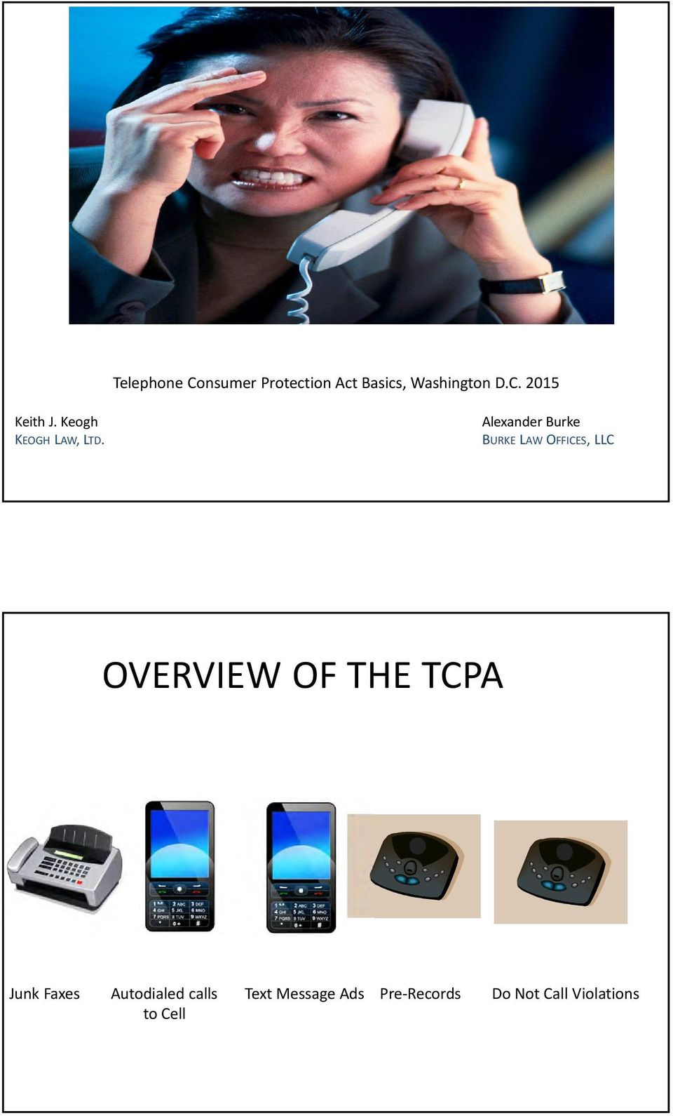 Alexander Burke BURKE LAW OFFICES, LLC OVERVIEW OF THE TCPA