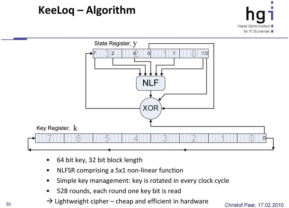 linear function Simple key management: key is rotated in every clock cycle 528