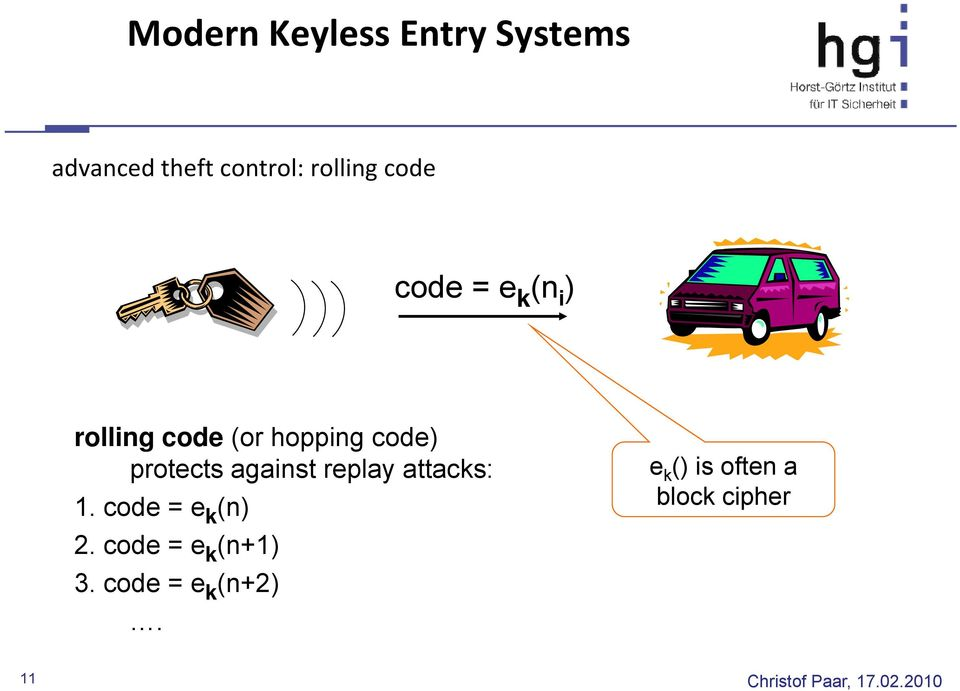 protects against replay attacks: 1. code = e k (n) 2.