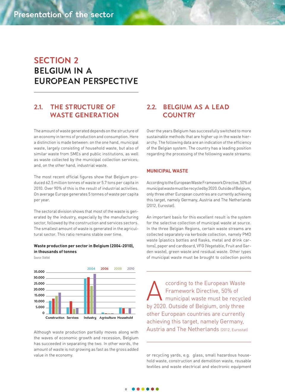 the municipal collection services; and, on the other hand, industrial waste. The most recent official figures show that Belgium produced 62.5 million tonnes of waste or 5.7 tons per capita in 2010.