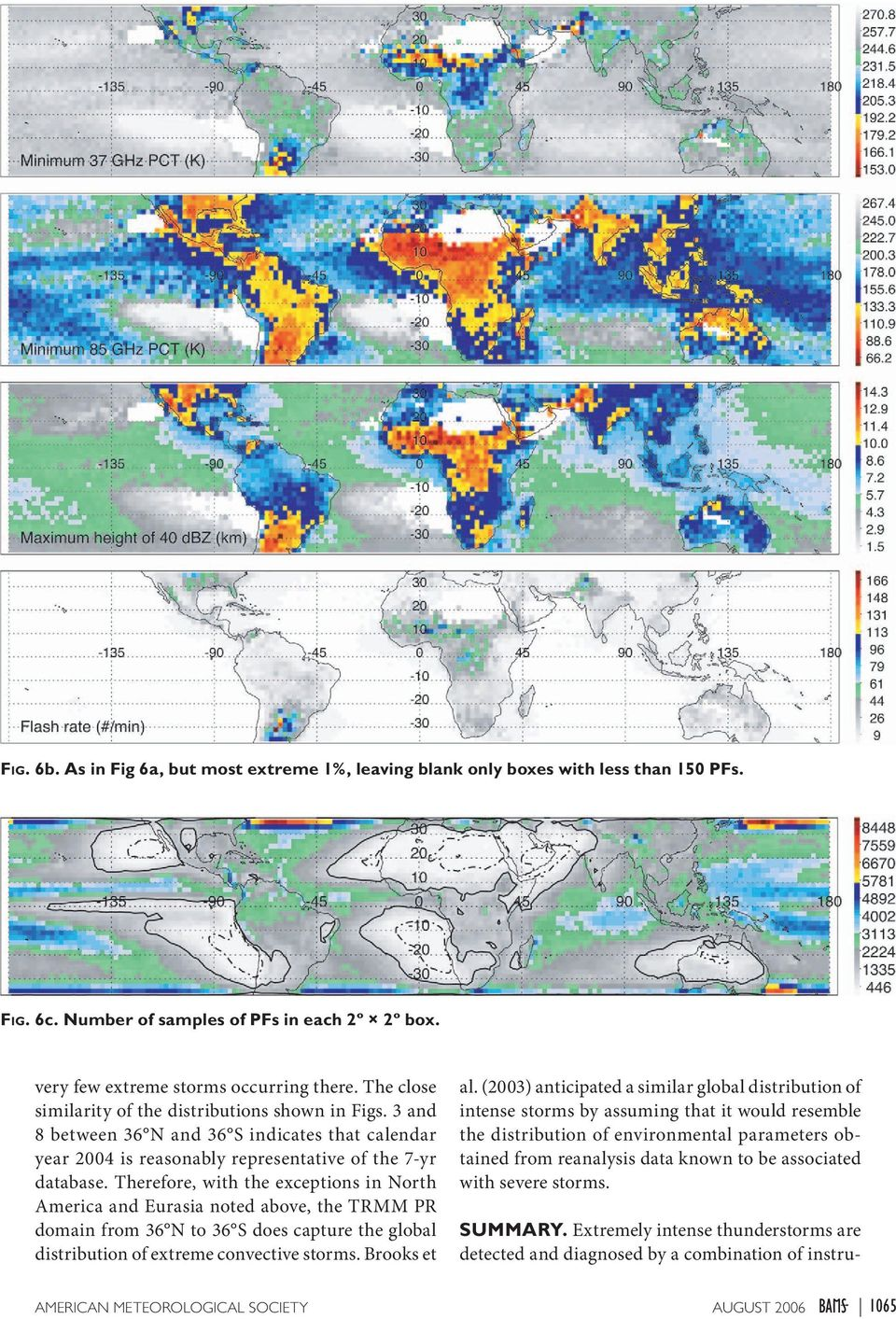 Therefore, with the exceptions in North America and Eurasia noted above, the TRMM PR domain from 36 N to 36 S does capture the global distribution of extreme convective storms. Brooks et al.