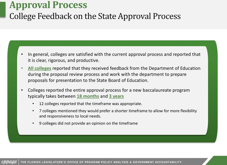 Board of Education. Colleges reported the entire approval process for a new baccalaureate program typically takes between 8 months and 3 years colleges reported that the timeframe was appropriate.