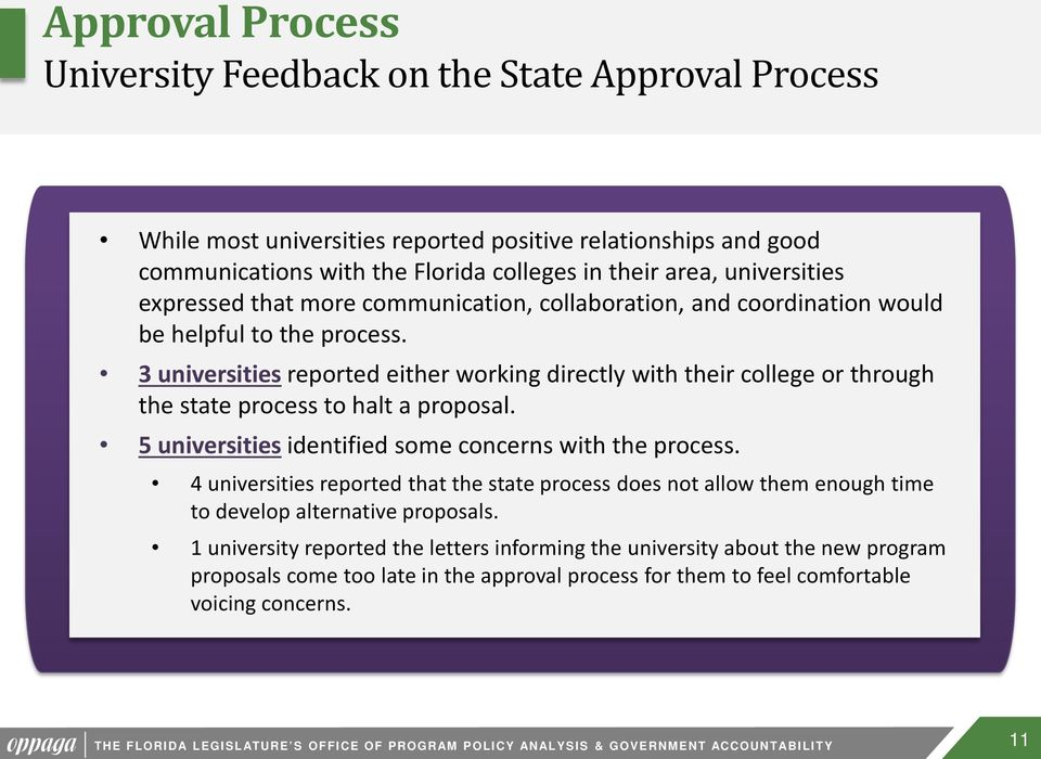 3 universities reported either working directly with their college or through the state process to halt a proposal. 5 universities identified some concerns with the process.
