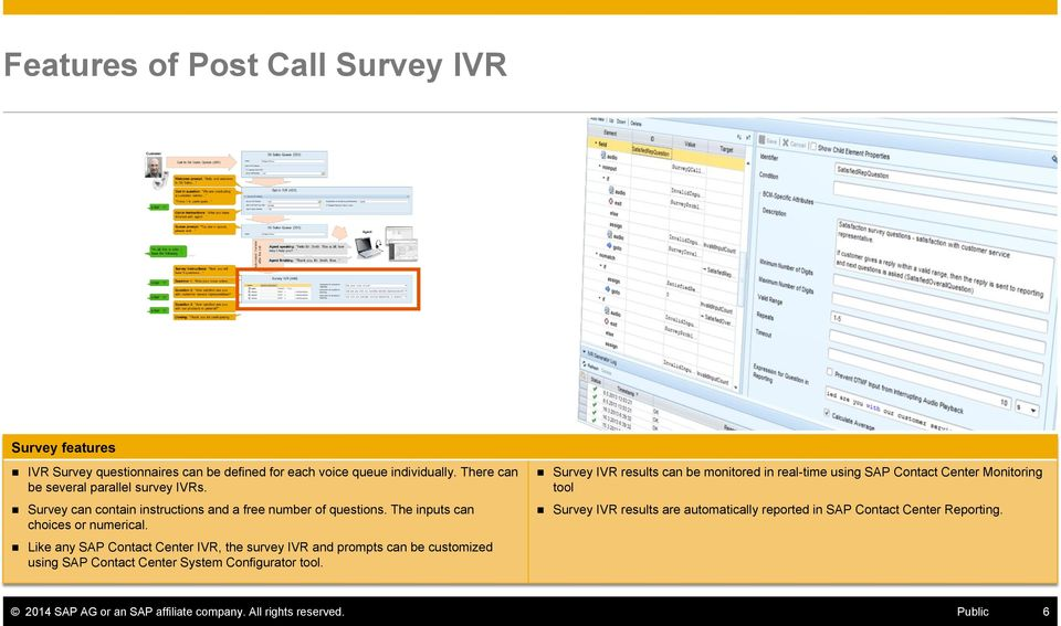 Like any SAP Contact Center IVR, the survey IVR and prompts can be customized using SAP Contact Center System Configurator tool.