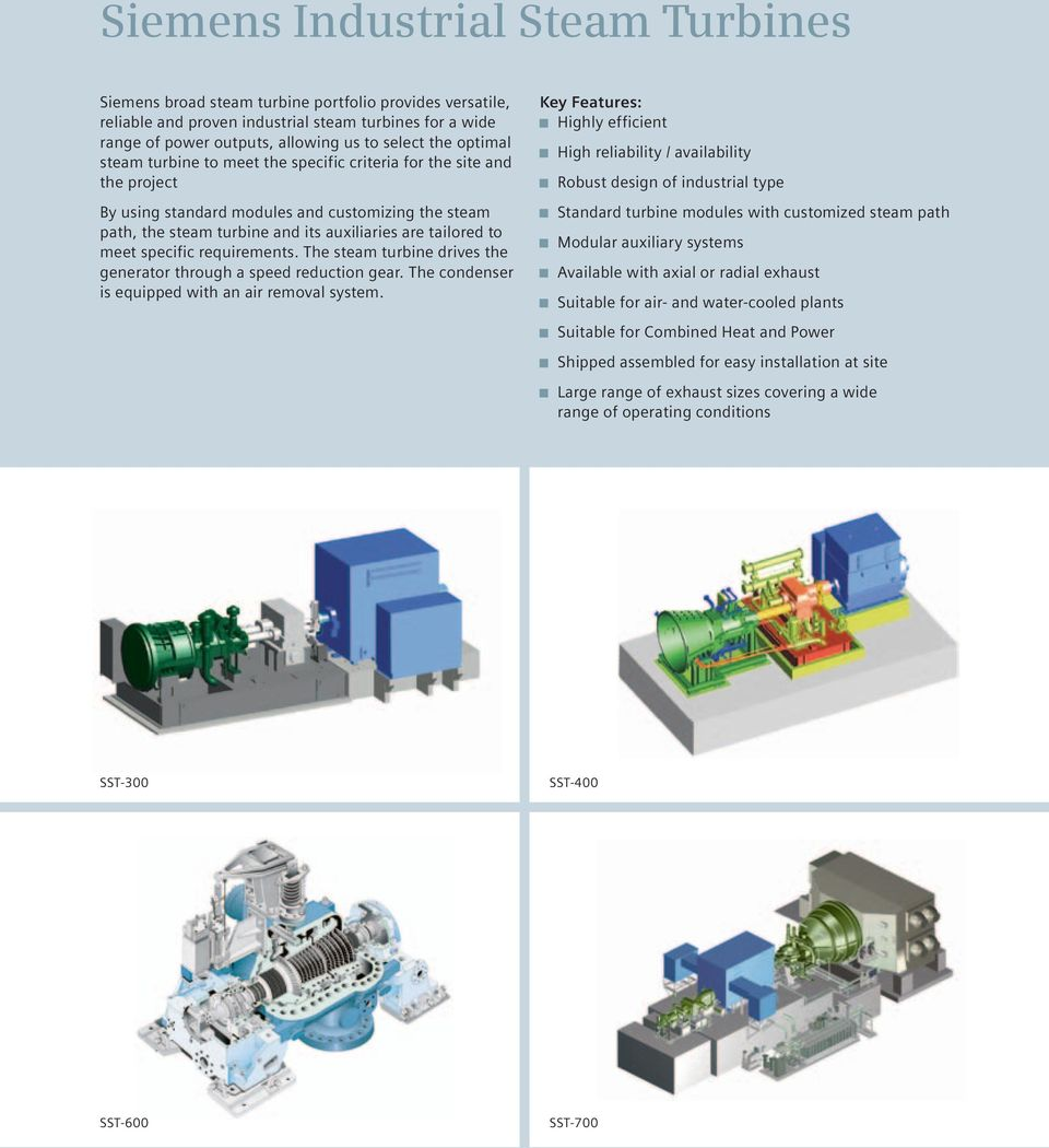 specific requirements. The steam turbine drives the generator through a speed reduction gear. The condenser is equipped with an air removal system.