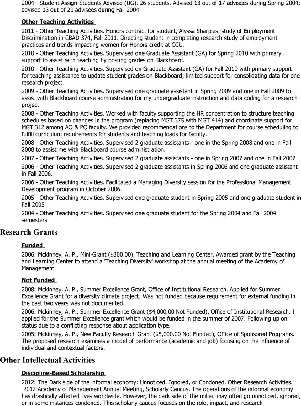 trends impacting women for Honors credit at CCU 2010 - Other Teaching Activities Supervised one Graduate Assistant (GA) for Spring 2010 with primary support to assist with teaching by posting grades