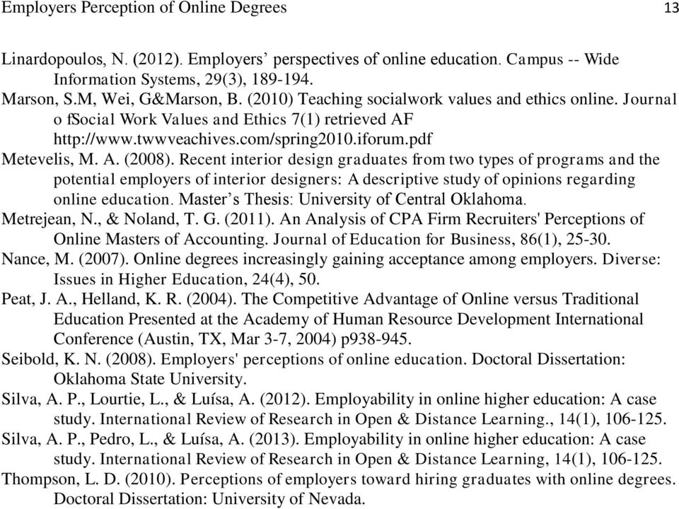Recent interior design graduates from two types of programs and the potential employers of interior designers: A descriptive study of opinions regarding online education.