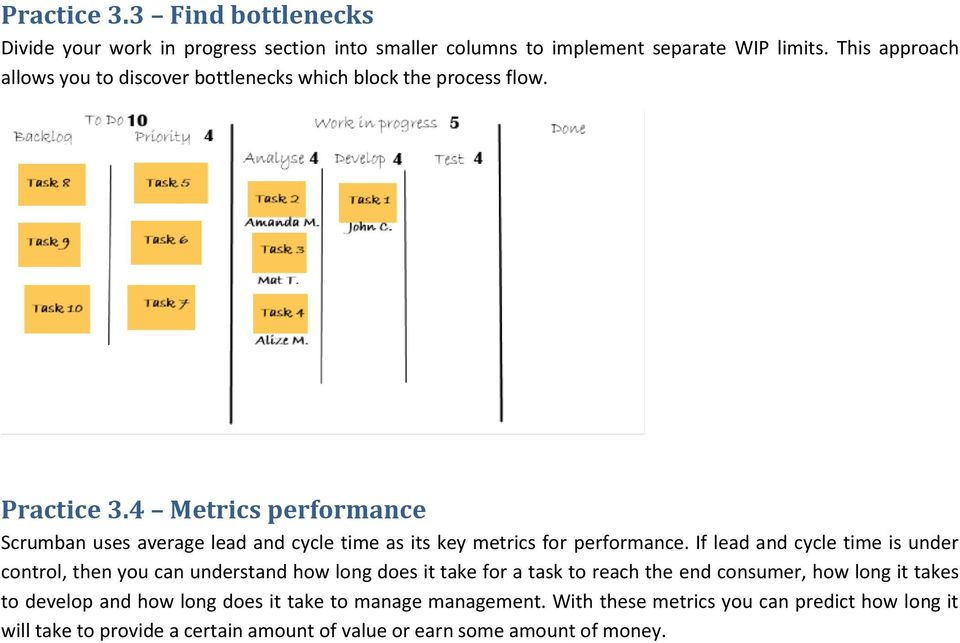 4 Metrics performance Scrumban uses average lead and cycle time as its key metrics for performance.