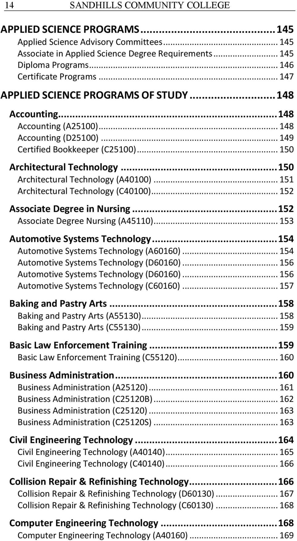 .. 150 Architectural Technology... 150 Architectural Technology (A40100)... 151 Architectural Technology (C40100)... 152 Associate Degree in Nursing... 152 Associate Degree Nursing (A45110).