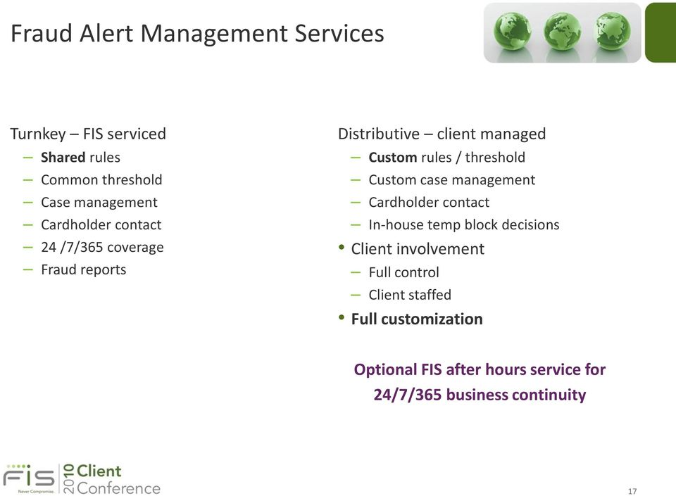threshold Custom case management Cardholder contact In-house temp block decisions Client involvement