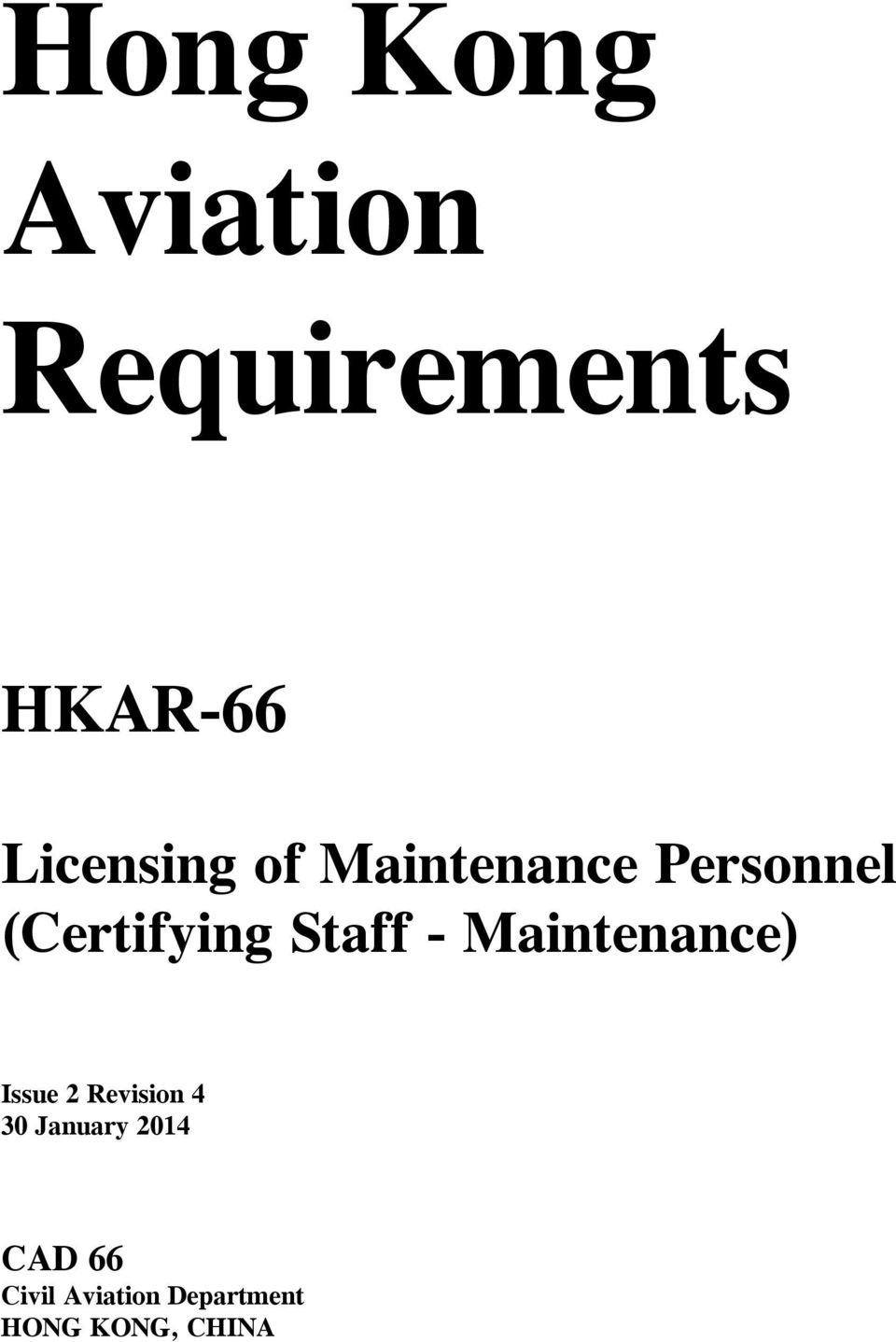 Staff Maintenance) Issue 2 Revision 4 30