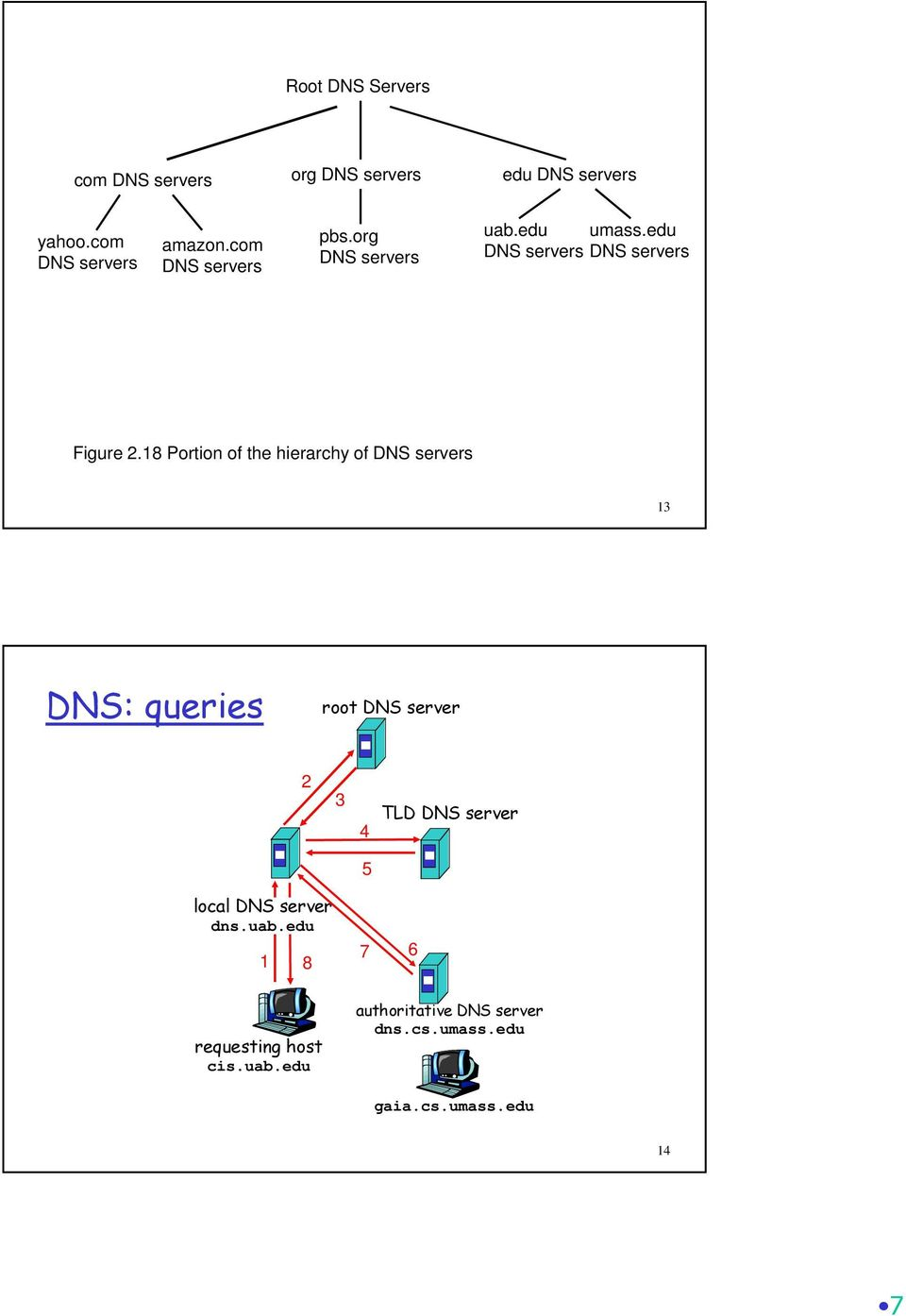 18 Portion of the hierarchy of DNS servers 13 DNS: queries root DNS server 2 3 4 TLD DNS server 5