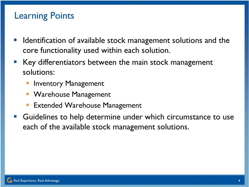 Key differentiators between the main stock management solutions: Inventory Management