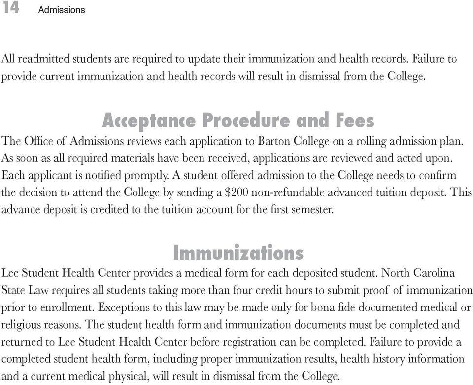 Acceptance Procedure and Fees The Office of Admissions reviews each application to Barton College on a rolling admission plan.