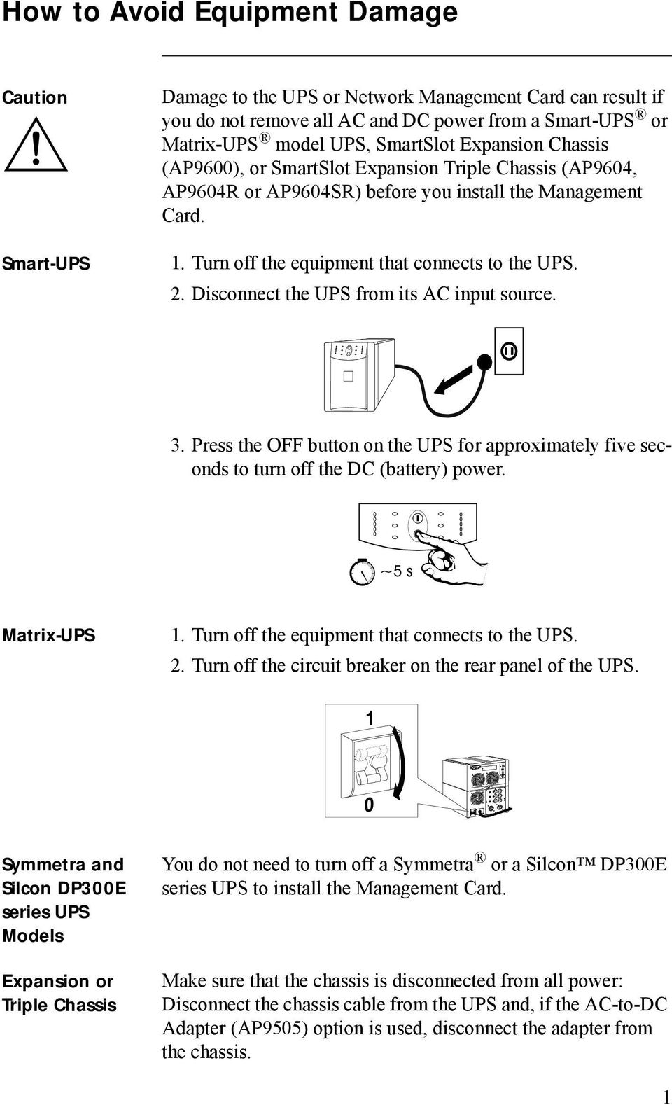 Disconnect the UPS from its AC input source. 3. Press the OFF button on the UPS for approximately five seconds to turn off the DC (battery) power. Matrix-UPS 1.