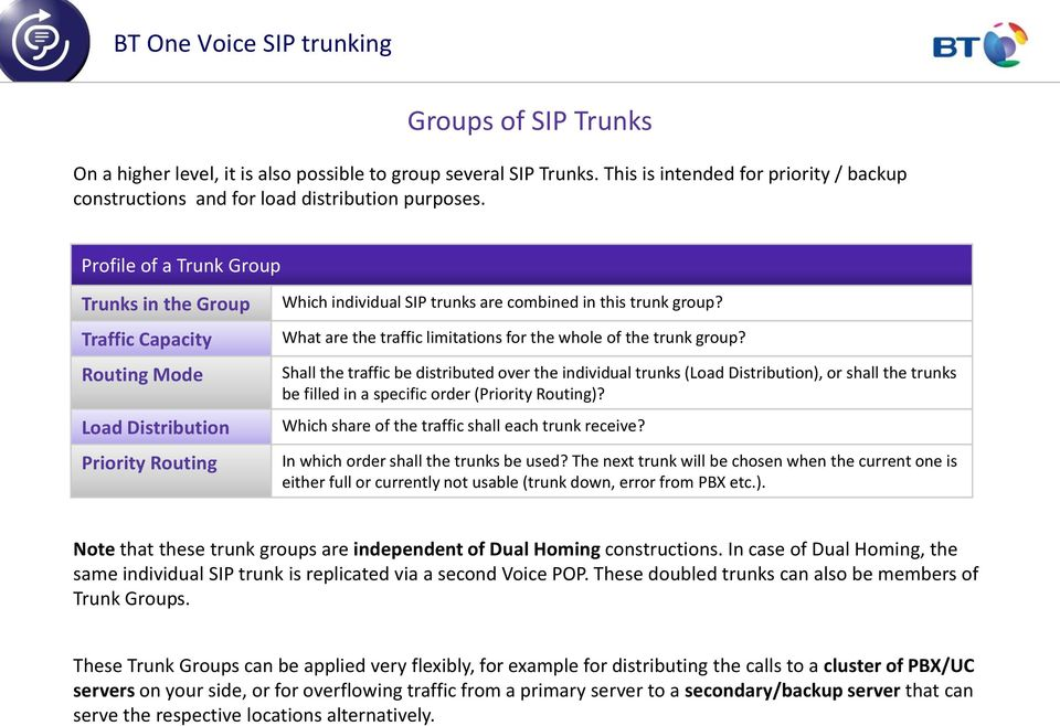 What are the traffic limitations for the whole of the trunk group?