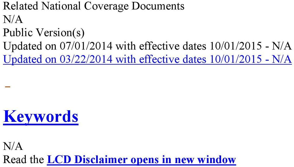 - Updated on 03/22/2014 with effective dates