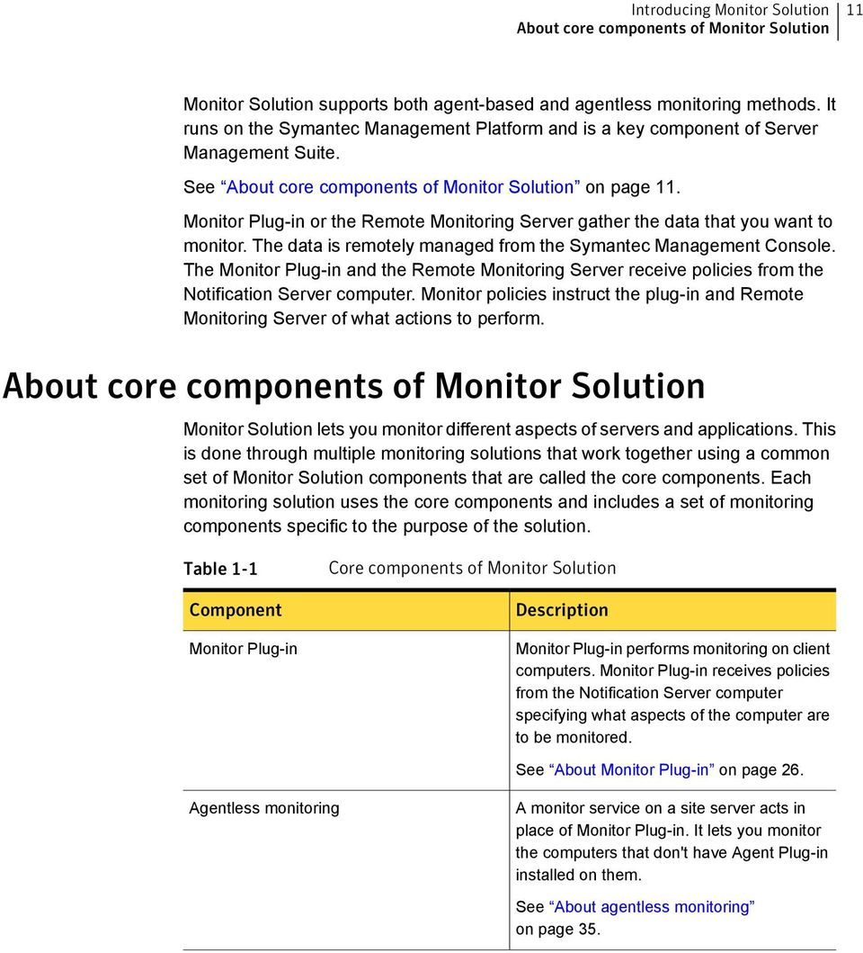 Monitor Plug-in or the Remote Monitoring Server gather the data that you want to monitor. The data is remotely managed from the Symantec Management Console.
